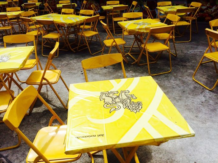 Empty chairs and tables