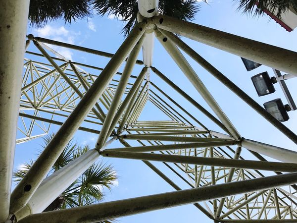 Minimalist Architecture Low Angle View Sky Metal Tree Built Structure Architecture No People Triangle Repetitions Triangles Shapes And Angles Urban Geometry High Scaffold Monkey Bars Vertigo Nauseating Dizzying Hypnotizing Count Them Beauty In Ordinary Things In Plain Sight Shapes And Patterns  Day Outdoors