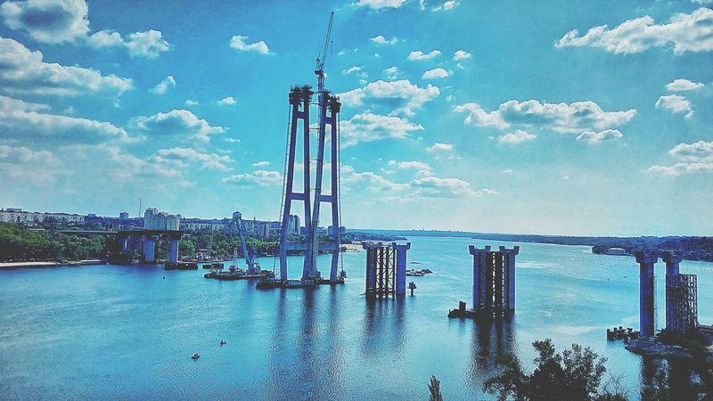 Sky Blue Dnipro River Building Bridge Zaporizhzhya