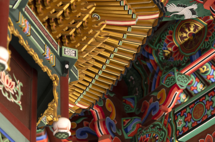 view of Bomunsa, a famous Buddhism temple in Seokmodo, Kimpo, Gyeonggido, South Korea Bomunsa Buddhism Temple Seokmodo Amusement Park Art And Craft Arts Culture And Entertainment Buddhism Carousel Close-up Communication Creativity Day Design Focus On Foreground For Sale Full Frame Ganghwado Indoors  Multi Colored No People Ornate Pattern Selective Focus Temple Text