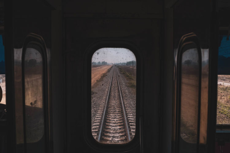 Tracks seen through train window