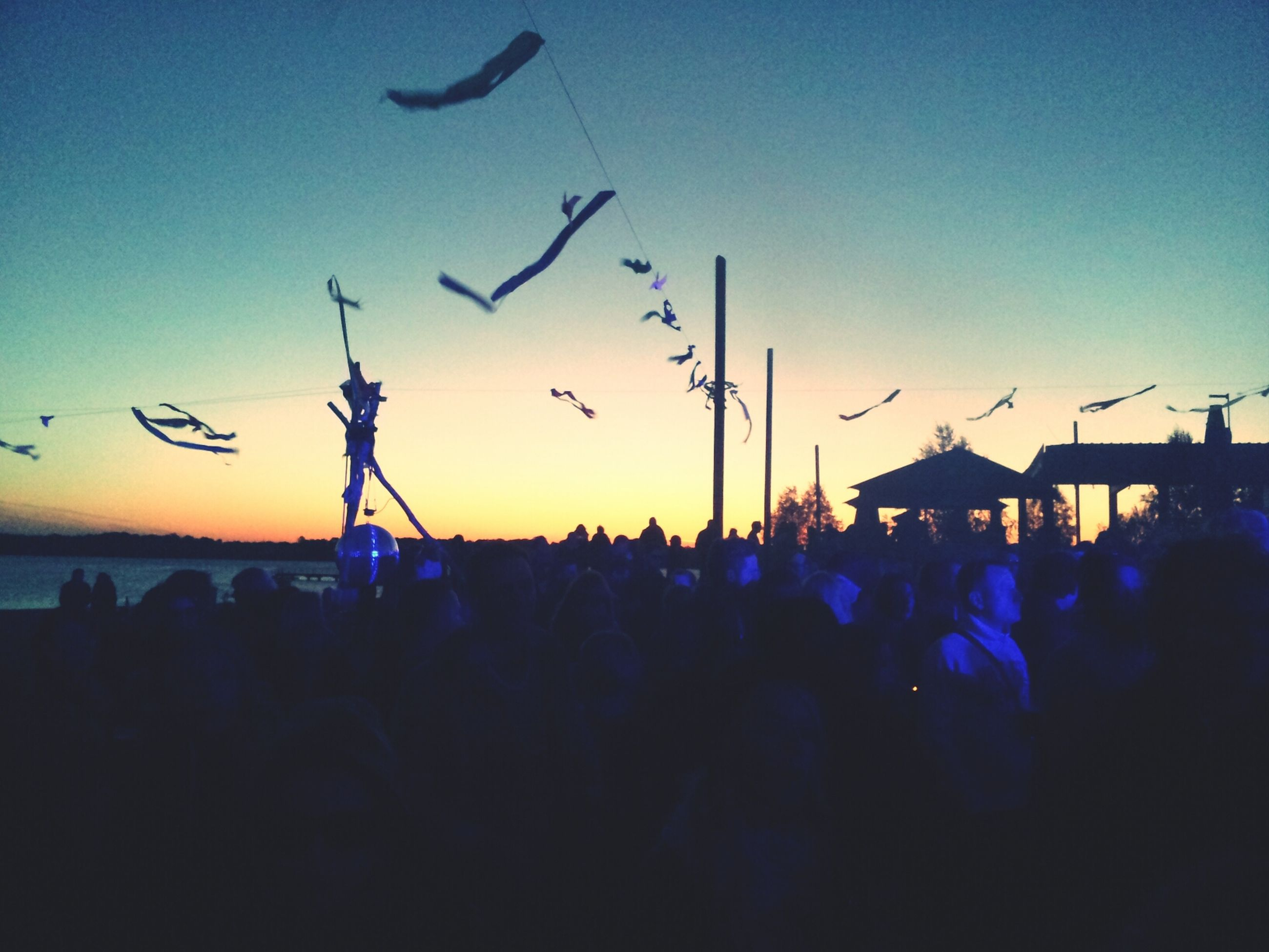 silhouette, sunset, flying, large group of people, clear sky, bird, sky, blue, dusk, flock of birds, copy space, animal themes, animals in the wild, wildlife, outdoors, built structure, mid-air, crowd