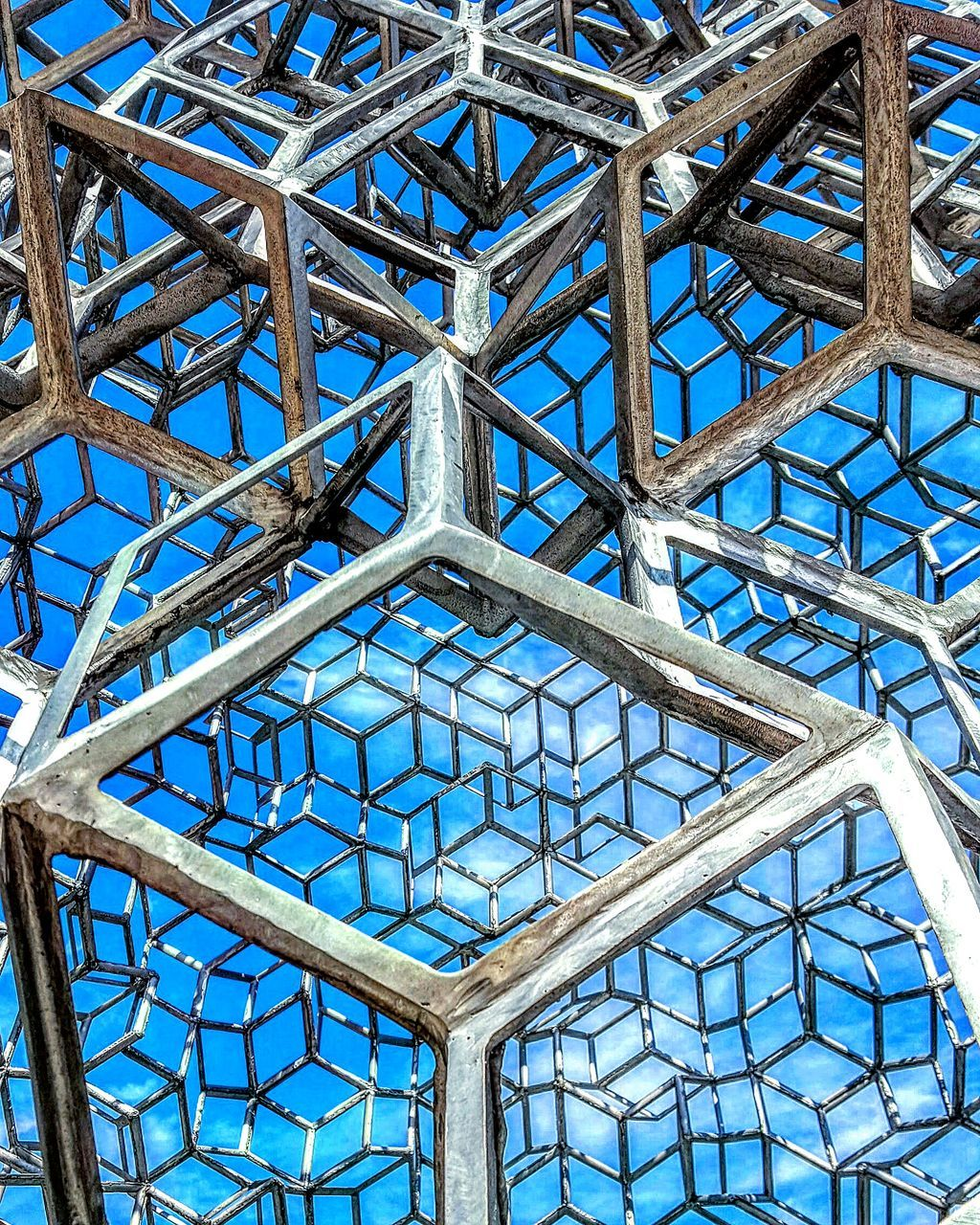 pattern, day, low angle view, architecture, no people, built structure, blue, indoors, sky