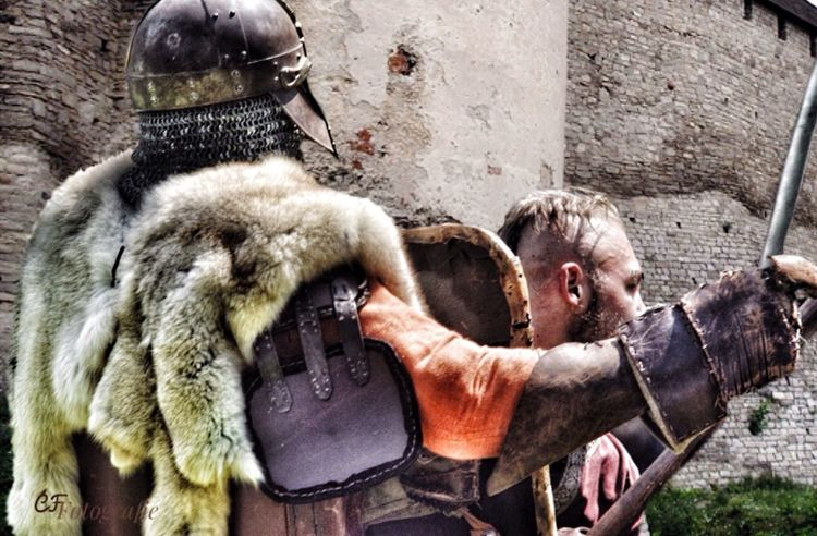 Knights Tale Castle Protection Knights Armour Costume Outdoors Movieshoot Castle Walls Battle Helmet Steel Male Models Action Shot