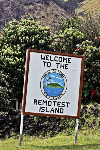 Communication Sign Plant Information Information Sign No People Script Guidance Outdoors Day Tristan Da Cunha Tristan Da Cunha Island South Atlantic Island Most Remote Island In The World