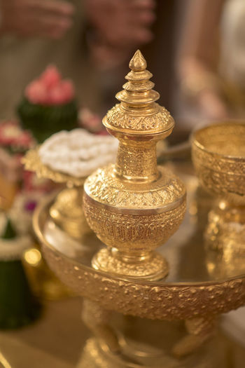 Gold Thai Thaiwedding Tradition Wedding Bhuddhism Ceremony Cultures Indoors  Marriage  Monk  Ring