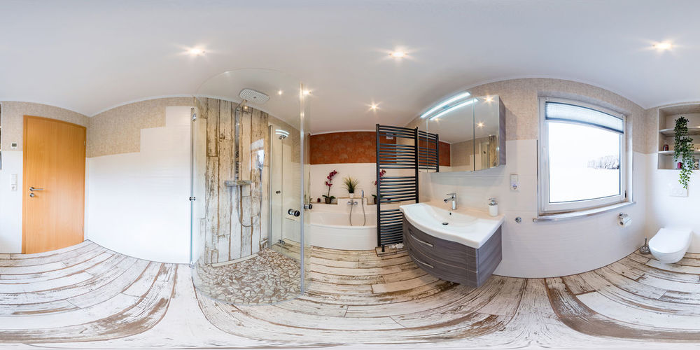 3D Spherical 360 degrees, seamless panorama of bathroom interior vintage style Architecture Built Structure No People Indoors  Lighting Equipment Modern Illuminated Architectural Column Ceiling Luxury Building Wealth Wood - Material Bathroom Day Flooring Absence Elégance White Color Vr 360 Panorama 360° Interior
