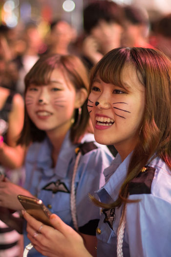 Halloween Shibuya Party, 2018 Travel Photography Halloween Halloween Tokyo Street Shibuya Halloween Party Dressed Up Real People Happiness Women Smiling Crowd Friends Police Uniform Japanese Girls Cat Makeup Kitty Moments Of Happiness