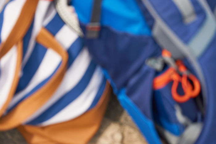 Travel Background Defocus Background Photography Blue Close-up Day Multi Colored No People Outdoors Smooth Background Travelbag Full Frame Your Ticket To Europe Backpack Beachbag Second Acts