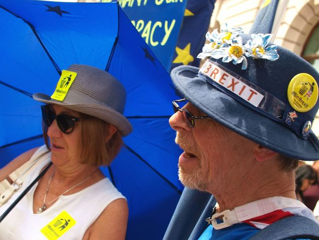 March For The Peoples vote. Whitehall. London. 23/06/2018 Stevesevilempire Steve Merrick Protest Protesters Whitehall London London News Europe Remainers Remain British Politics Brexit Politics And Government Brexit Protest Headshot Portrait Cap Adult Two People Real People Hat