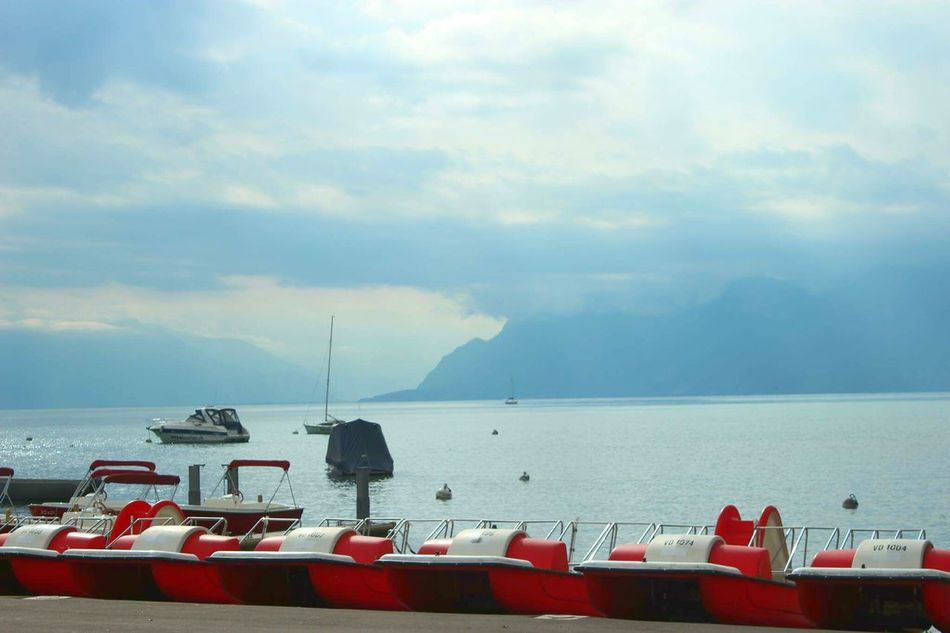 Nautical Vessel Transportation Sea Water Boat Mountain Cloud - Sky Sky Scenics Cloudy Nature Tourism Swiss Switzerland Lousanne Travel Beauty In Nature My Favorite Place