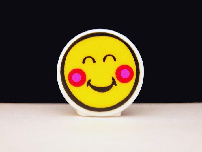 Smile Item Huge Smile Pink Cheeks Yellow Black Pink Yellow Black Red Pink White Bottom Black Background 4x3