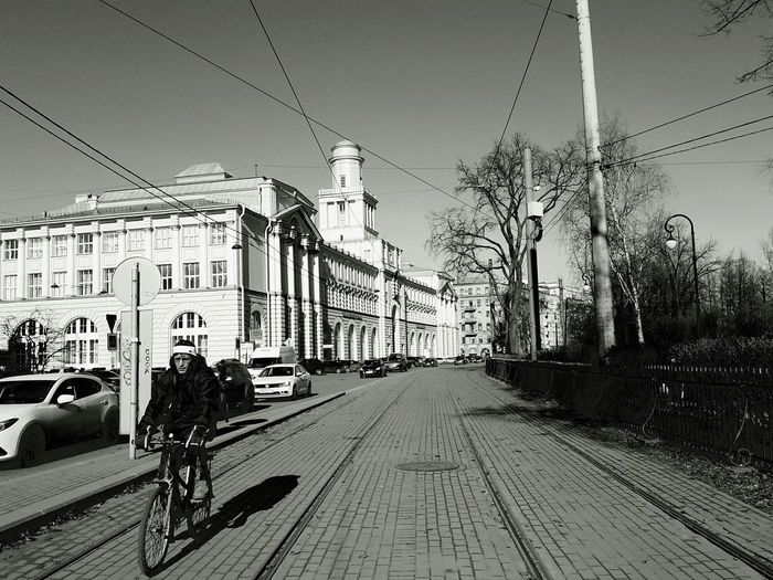 City Day Architecture Outdoors Black Color W B Black And White Black And White Photography Walk Spring March 2017 March 2017 Saint Petersburg Russia Check This Out Spb Street Walking Around The City  Walking Around Bycicle Rider Bycicle Man