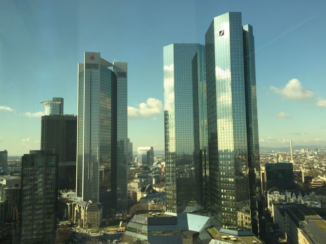 Frankfurt's Skyline @ Westend. Frankfurt Am Main Frankfurt Deutsche Bank Skyline Frankfurt Skyline Tower Mirror From Above  Beautiful View Sunshine Sunny Sunny Day WestEnd