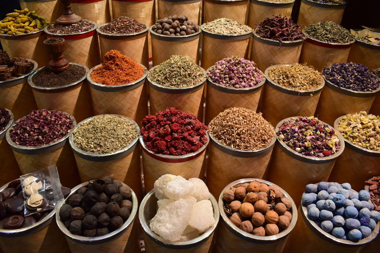 High angle view of various spices for sale at market stall