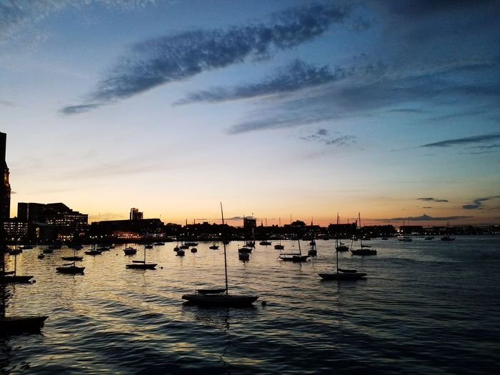 Silhouette Boats And Sea Nautical Vessel Tranquility Water Sky Sea Dusk Outdoors Horizon Over Water Ships On The Water Sail Boats Harbour Life Boston Massachusetts Samsung Galaxy S7 Edge The Week On EyeEm EyeEmNewHere