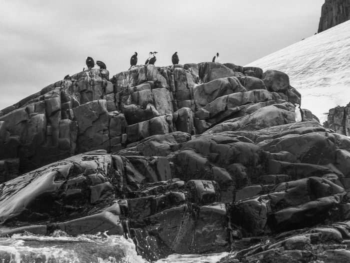 Group of people on rock against sky