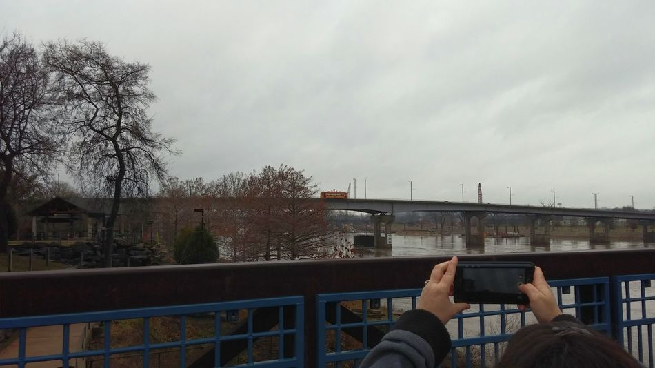 Taking Photos Check This Out Cloudy Day Arkansas River Front Trolly Car My Wife ♡