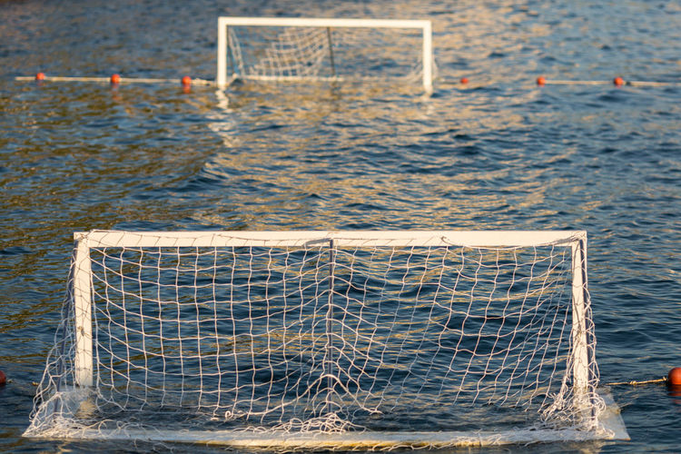 Close-up of soccer gates in sea