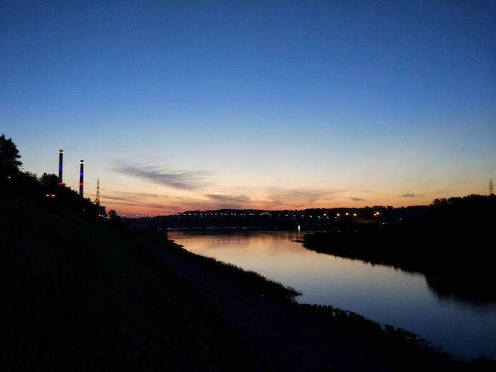 Sunset Bridge Lights Water Sunset City Blue Reflection Sky Landscape Calm Romantic Sky Dramatic Sky Astronomy Settlement