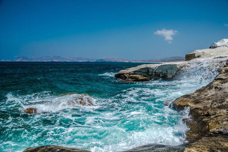 Aegean Sea Bay Bay Area Chalk Cliffs Cliff Cove Cretaceous Day EyeEm Nature Lover Greece Mediterranean  Nature Photography No People Outdoors Rocks Rocks And Water Sarakiniko Sky Water White Wonder