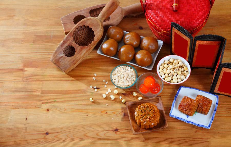 moon cake for the mid autumn festival Asian  Celebration Dessert Egg Yolk Salted Egg Yolk Bakery Baking Chinese Cultures Egg Gourment Handmade Ingredient Lotus Paste Mid Autumn Festival Moon Cake Mooncake Oriental Traditional