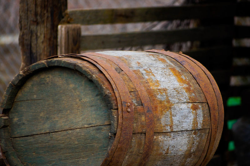 Abandoned wooden barrel