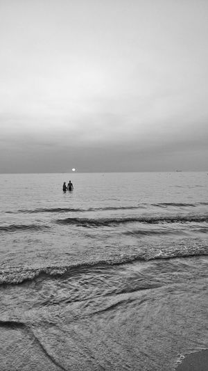 Lonley men Sea Beach Horizon Over Water Tranquility Landscape Day Water Nature Travel Destinations People Sky Blackandwhite Photography Zhoxha