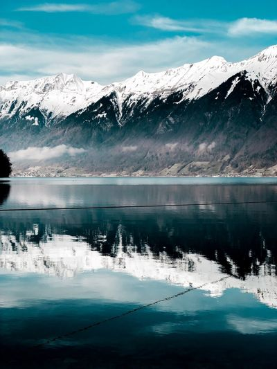 Reflections Switzerland Lake Brienz Brienz Brienzersee Snow Cold Temperature Mountain Winter Beauty In Nature Nature Scenics Frozen Tranquil Scene Ice Sky Landscape No People Mountain Range Outdoors Tranquility Snowcapped Mountain Lake Reflection Day