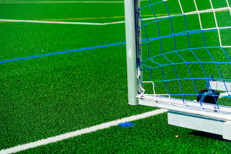 Cropped goal post on soccer field