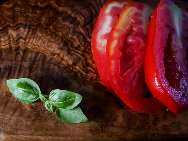 Basil Close-up Directly Above Food Food And Drink Freshness Fruit Healthy Eating Herb High Angle View Indoors  Leaf No People Plant Plant Part Red Still Life Table Tomato Vegetable Wellbeing Wood - Material