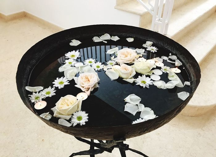 High angle view of flowers in vase on table