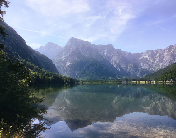 Almsee Oberösterreich Beauty In Nature Day Idyllic Lake Landscape Mountain Mountain Range Nature No People Outdoors Reflection Scenics Sky Snow Tranquil Scene Tranquility Tree Water Waterfront