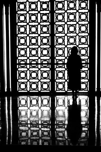 Rear view of silhouette woman standing by window in building