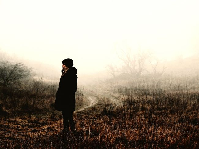 One Person Full Length Clear Sky Fog Foggy Mist Outdoors Nature Winter Beauty In Nature Landscape Cold Temperature