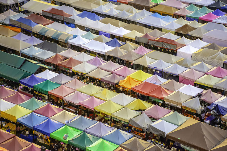 Aerial view of market stall