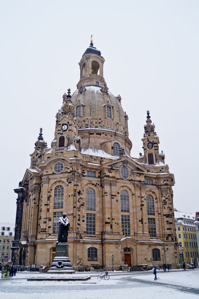 Architecture Building Exterior Built Structure City Clear Sky Day Dome Façade Frauenkirche Low Angle View Luther Martin Luther Minimalist Architecture No People Outdoors Religion Sky Statue The City Light Travel Travel Destinations