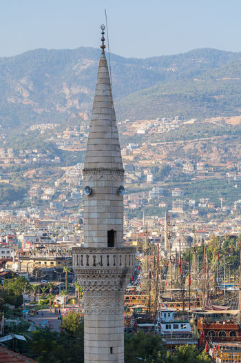 Minaret of mosque in city