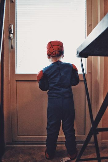 Your friendly neighbourhood spider-man 🕸🕷🕸 Marvel Spiderman Looking Out Window One Person Childhood Men Child Real People Standing Boys Clothing Lifestyles Day Sunlight Leisure Activity