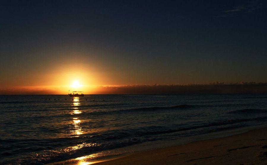 Beach Boat Fishboat Ocean Outdoors Sea Sky Sunrise Tunisia Vacations Water