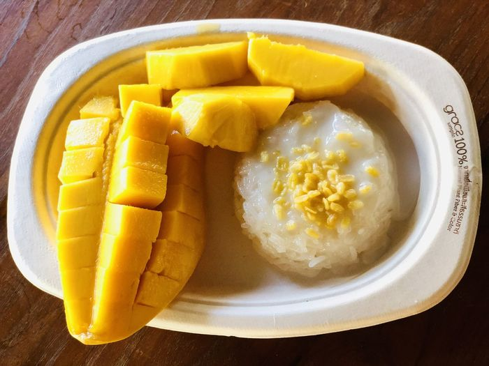 mango and sticky rice Food Food And Drink Still Life No People Yellow Freshness Healthy Eating Table Plate Breakfast Egg Meal Dairy Product Serving Size