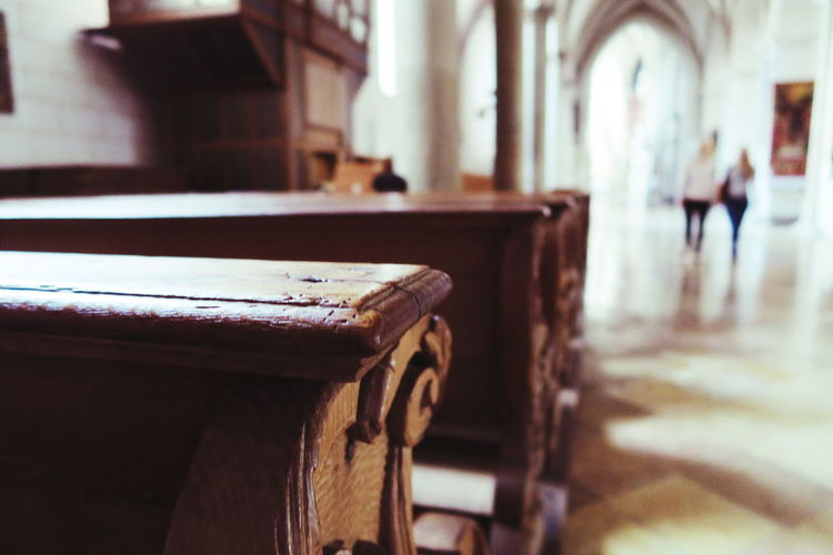 Wooden Pews In Church
