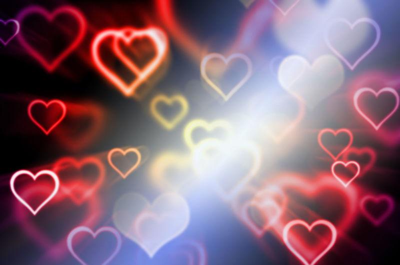 Defocused image of illuminated heart shape lights