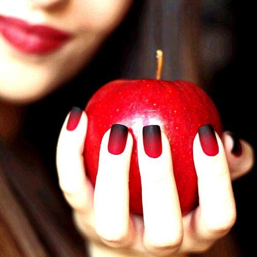 Apple - Fruit Red One Person Human Hand Nail Polish Fingernail