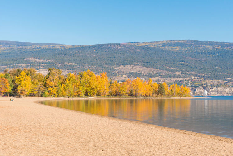 Scenic View Of Lake Against Clear Sky During Autumn