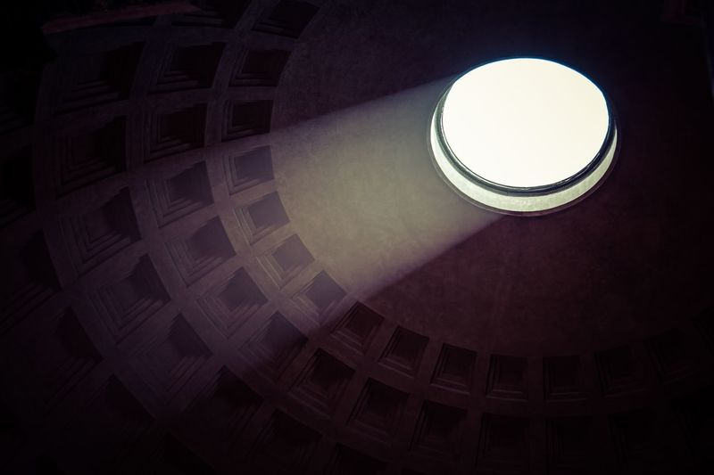 Pantheon Light Low Angle View Built Structure Architecture Ceiling No People Indoors  Geometric Shape Circle Pattern Shape Illuminated Sunlight Light Cupola The Architect - 2018 EyeEm Awards