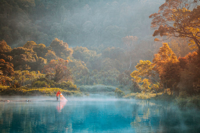 Fisherman at morning on Situgunung Lake, Sukabumi EyeEm Best Shots EyeEm Selects EyeEm Gallery Eyeemindonesia EyeEm Best Shots - Nature EyeEmNewHere Tree Water Plant Beauty In Nature Scenics - Nature Nature Day Tranquility Lake Forest Tranquil Scene Reflection One Person Outdoors Fog Autumn Waterfront Fisherman Sunrise INDONESIA Sukabumi Situ Gunung