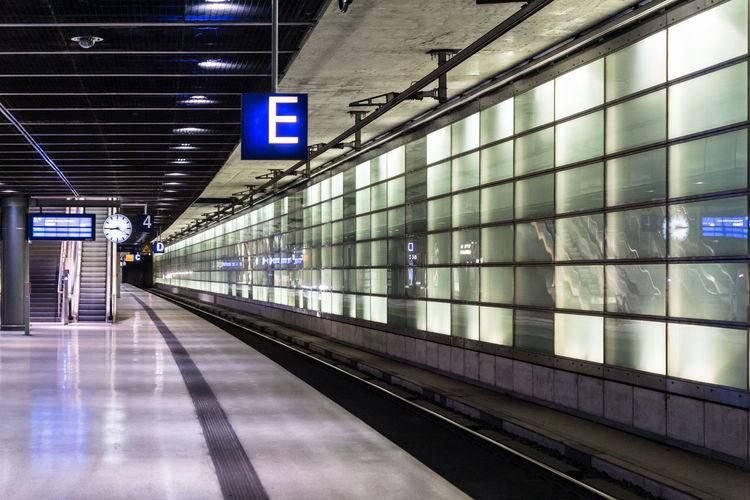 Empty Illuminated Subway Station