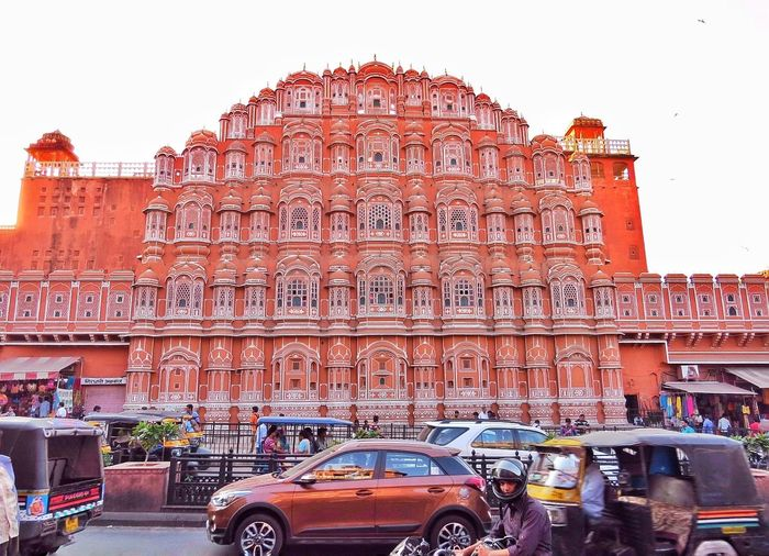 Hawa Mahal or The Palace of Breeze City Street Red Building Exterior Architecture Travel Destinations Rajasthan Jaipur Rajasthan Rajasthan Beauty India History Architecture History Through The Lens  Sandstone Palace Of Air Incredible India Love❤ Outdoors Indian Culture  EyeEm Best Shots EyeEm Gallery Rich Heritage EyeEmNewHere The Street Photographer - 2017 EyeEm Awards