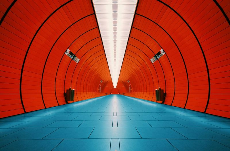 Munich Underground Marienplatz Orange Symmetry Mirrored Pivotal Ideas